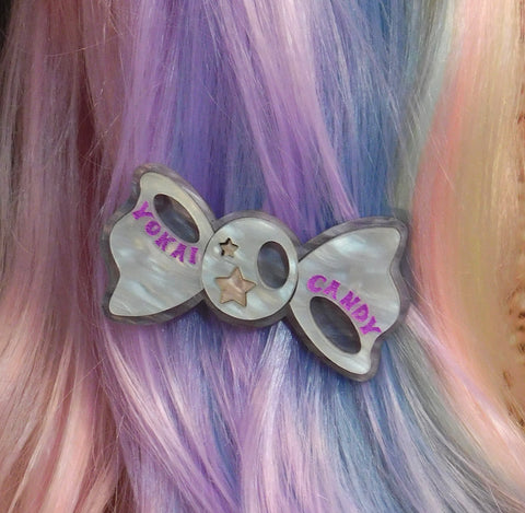 White, Lilac and Baby Pink Pearl Bow Hair Clip