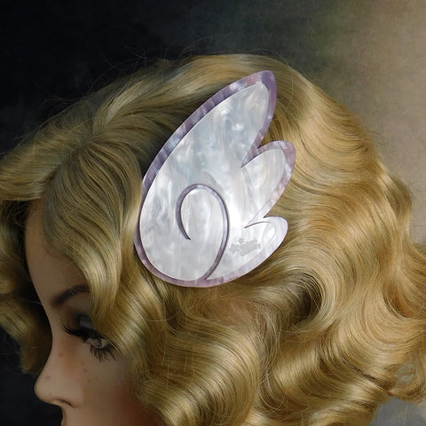 White and Lilac Pearl Chibi Wing Barrettes