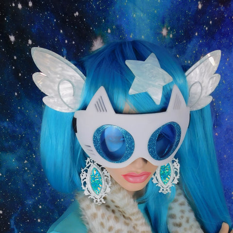 White and Water Blue Pearl Chibi Wing Barrettes