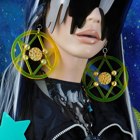 Neon Yellow Hexagram Earrings with Druzy AB Rhinestones