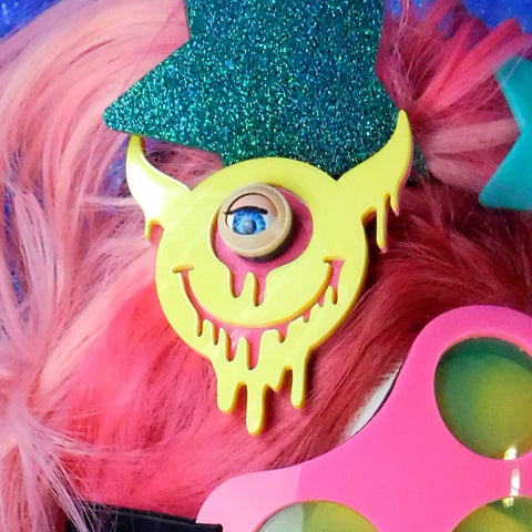 Yellow and Hot Pink Drippy Smiley Devil Hair Clip