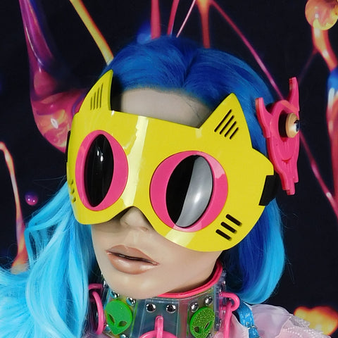 Bright Yellow with Neon Pink Cat Goggles