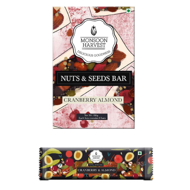 Monsoon Harvest - Nuts & Seeds Bars - Cranberry & Almond