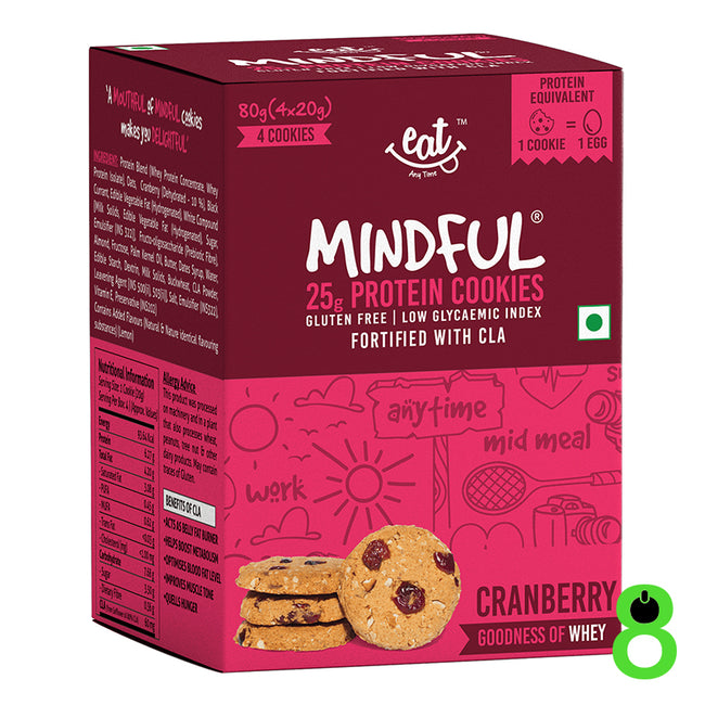 EAT Anytime | 6g Whey Protein Cookie | Cranberry (Pack of 4)