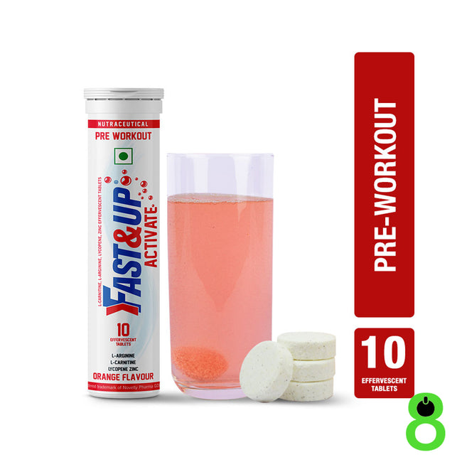 Fast&Up - Activate - Pre Workout Sports Drink - Orange (10 Effervescent Tablets)