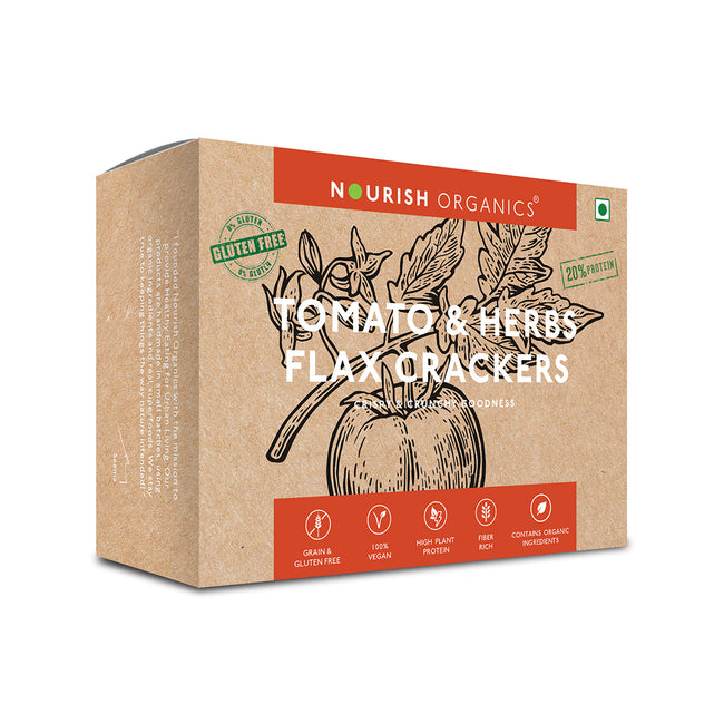 Nourish Organics - Tomato and Herbs Flax Crackers