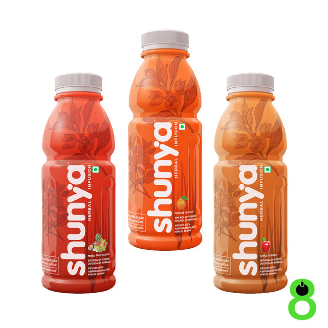 Shunya | Herbal Infusion | Pack of 3 Bottles | Mixed Fruit, Apple and Orange