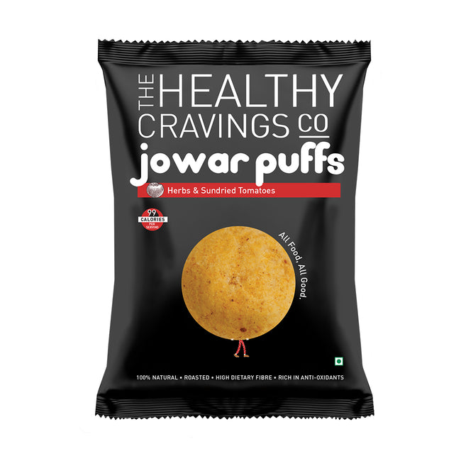 The Healthy Cravings Co - Jowar Puffs - Herbs & Sundried Tomato