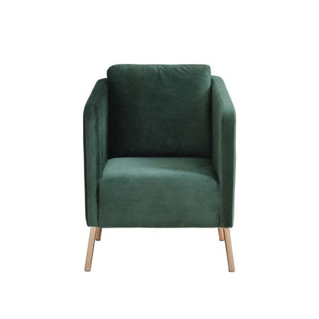 Mainstays Velvet Arm Chair with Gold Legs Green