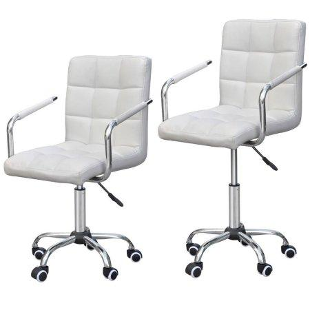 Phenomenal Yaheetech Modern White Faux Leather Swivel Office Task Chairs Gas Lift Computer Desk Chair On Casters Wheels White Pdpeps Interior Chair Design Pdpepsorg