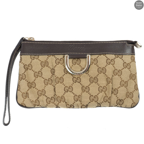 GG Canvas D-Ring Wristlet Pochette