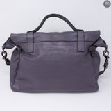 Alexa Oversized Slate Gray Leather Satchel Bag