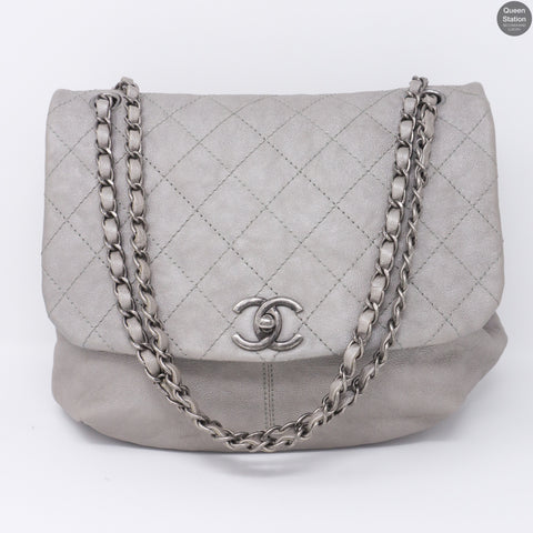 Quilted Soft Flap Medium Shoulder Bag