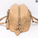Soft Beige Leather Boston Bag