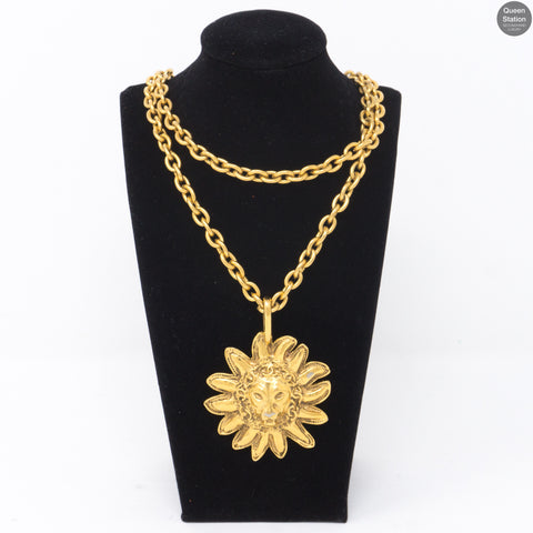 Gold Lion Sun Pendant Necklace