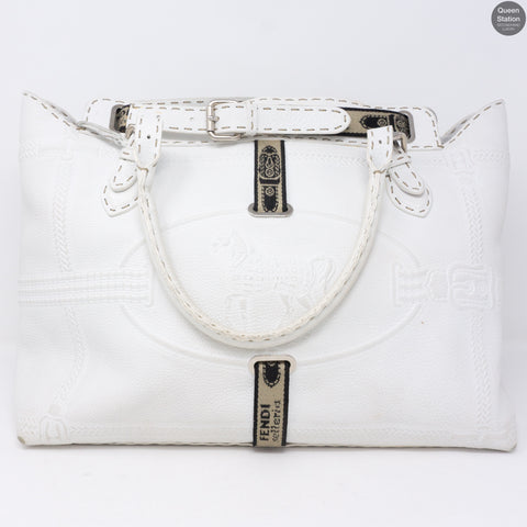 Villa Selleria Borghese White Leather Tote