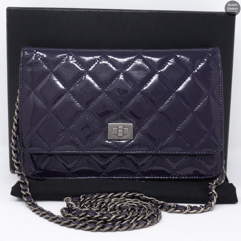 Purple Patent Leather Wallet on Chain