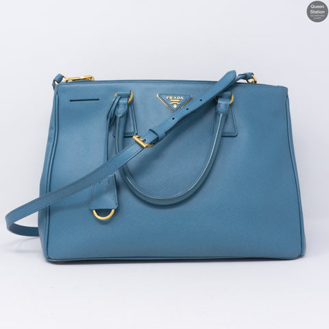 Saffiano Leather Double Zip Light Blue