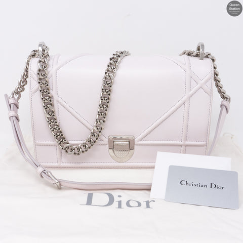 Diorama Medium Flap Bag Light Pink Leather