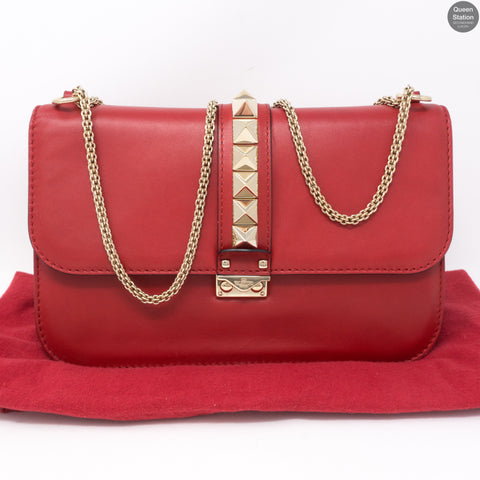Large Glam Lock Rockstud Flap Red Vitello