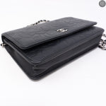 Black Leather Camelia Wallet On Chain