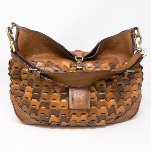 Braided Shoulder Bag Brown Leather