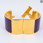 Clic Clac H Wide Purple Gold Enamel Bracelet