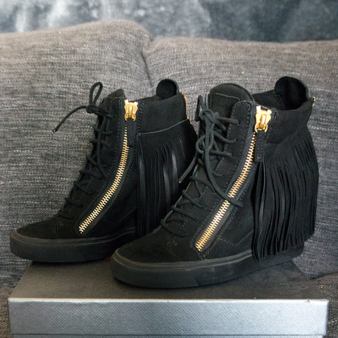Black Gold Zipper High Heels