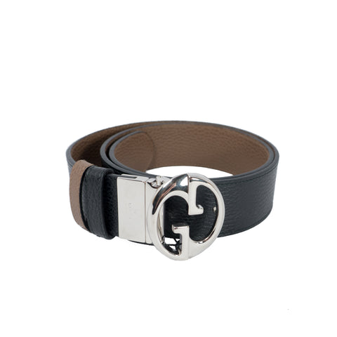 Double G Buckle Reversible Leather Belt 85 cm