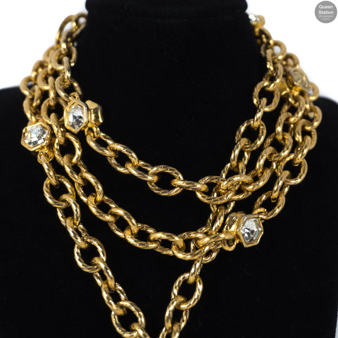 Gold Medallion With Crystals Long Necklace