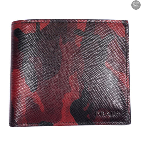 Red Camouflage Saffiano Leather Men's Wallet