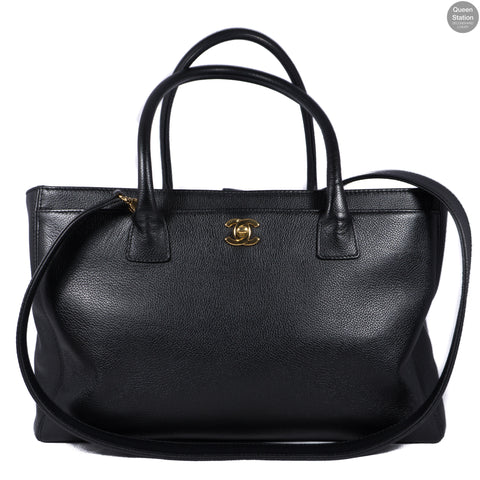 Executive Cerf Black Leather Tote
