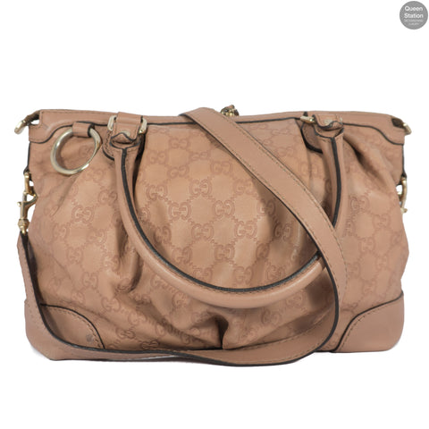 Sukey Top Handle Pink Beige Monogram Leather Bag