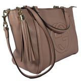 Soho Top Handle Beige Leather Bag