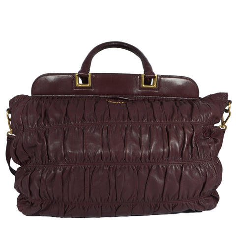 Leather Tote Bag Burgundy