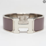 Clic Clac H Medium Purple & White Silver Enamel Bracelet