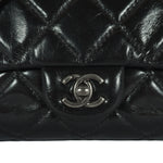 Single Flap Black Aged Calfskin RHW Bag