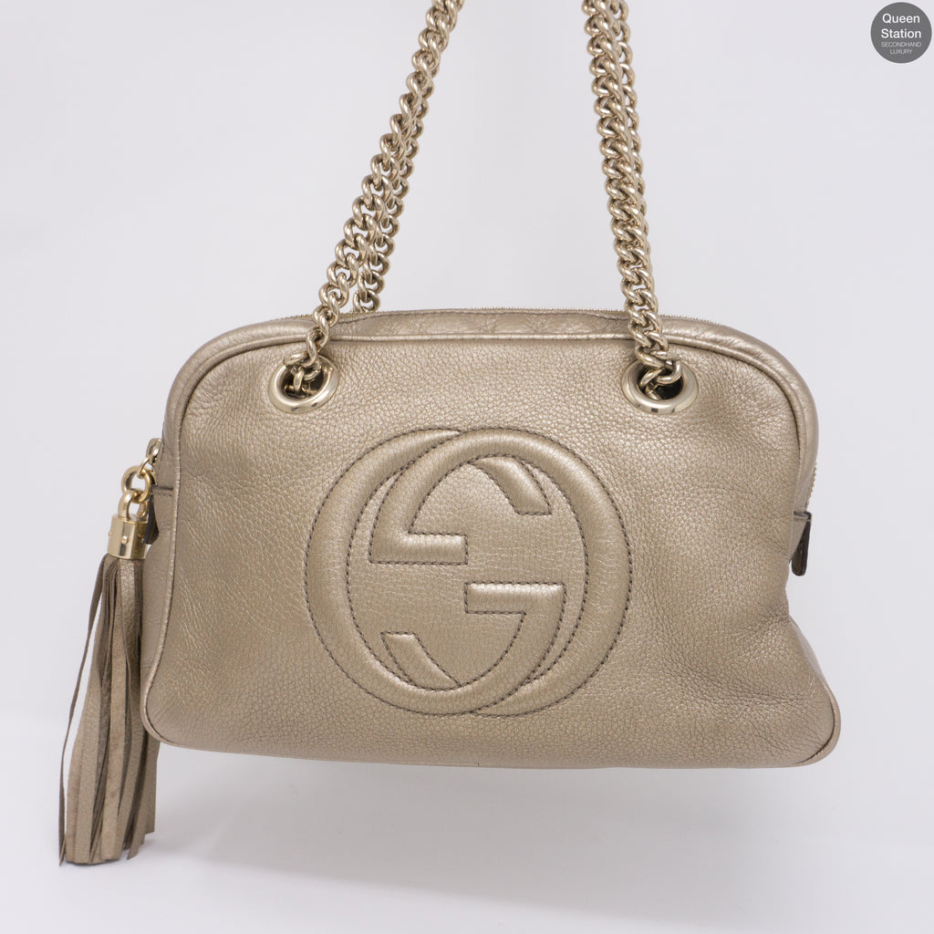 ad4ce52eadfd Soho Double Chain Gold Leather Bag – Queen Station
