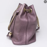 Soho Tassel Chain Metallic Purple Leather Bag