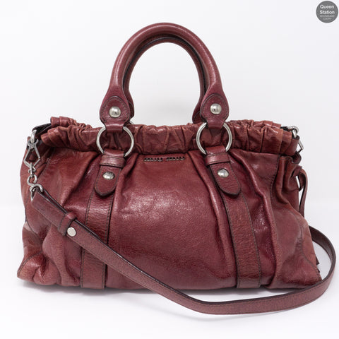Two-way Burgundy Vitello Leather Bag
