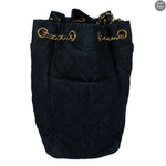 Drawstring Denim Gold Chain Crossbody Bag