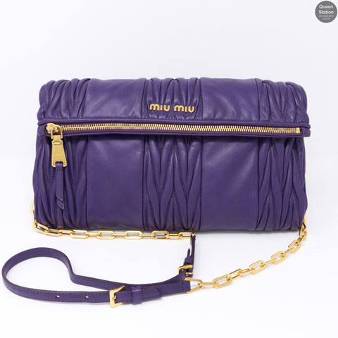 Purple Matelasse Nappa Leather Crossbody Bag