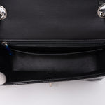 Chevron Rectangular Mini Flap Black Patent Leather Bag