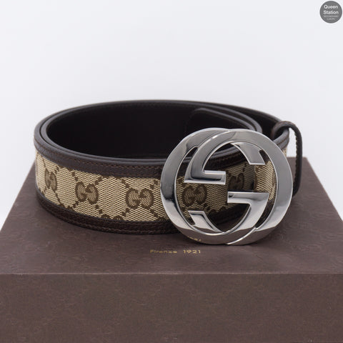 Double G Buckle Monogram Belt 90 cm
