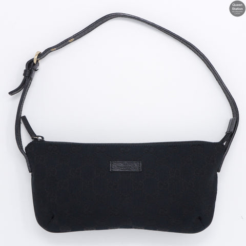 Black GG Monogram Canvas Pochette