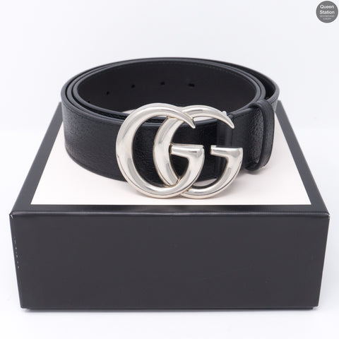 Double G Buckle Black Leather Belt 115 cm