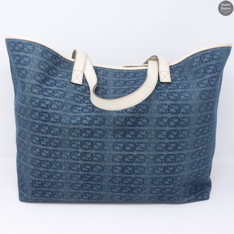Blue Denim Interlocking GG Canvas Tote