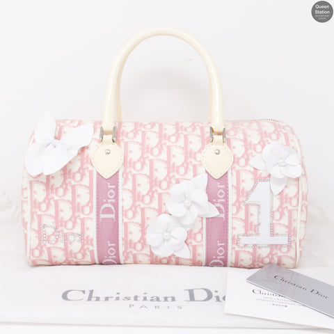 Pink Canvas Girly Flowers Boston Bag