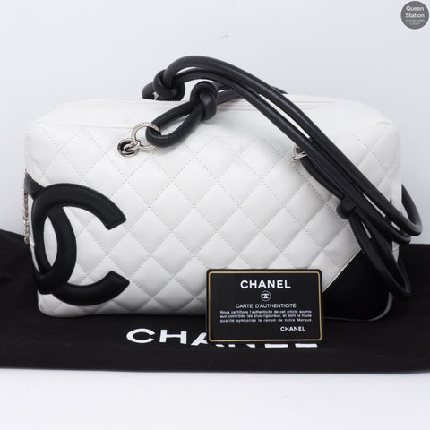 8f8447ab9a96 Cambon Bowler Quilted Leather White. Chanel