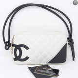 Cambon Shoulder Pochette Quilted Leather White